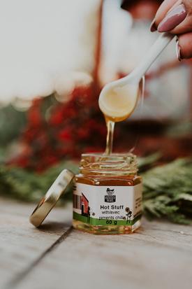 Open Hot Stuff 60g savoury honey with spoon